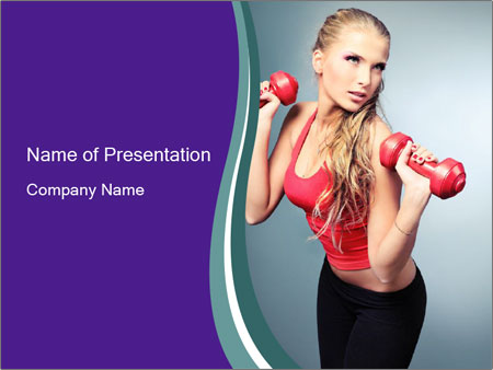 Lady Training with Red Dumbbells PowerPoint Templates