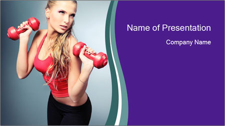 Lady Training with Red Dumbbells PowerPoint Template