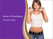 Cute Denim Girl PowerPoint Templates