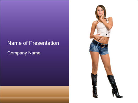 Young Woman in Denim Shorts PowerPoint Template