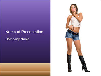 Young Woman in Denim Shorts PowerPoint Template - Slide 1