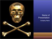 3D Golden Skull PowerPoint Templates