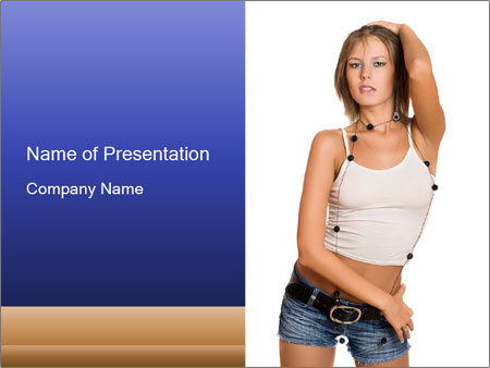 Denim Woman in White Top PowerPoint Template