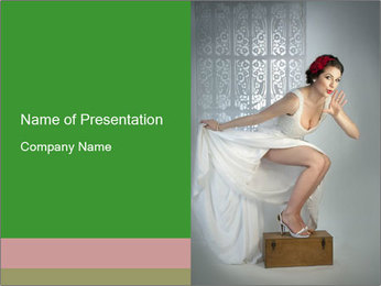 Bride in Snowy White Dress PowerPoint Template - Slide 1