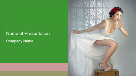 Bride in Snowy White Dress PowerPoint Template