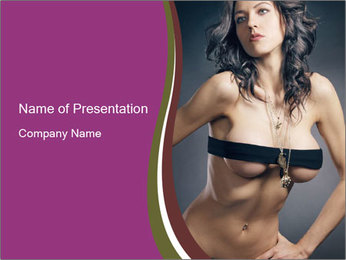 Topless Model PowerPoint Template - Slide 1