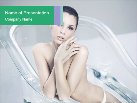 Naked WomanSitting in Glass Bathtub PowerPoint Templates
