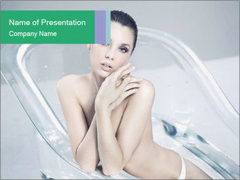 Naked WomanSitting in Glass Bathtub PowerPoint Template - Slide 1
