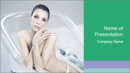 Naked WomanSitting in Glass Bathtub PowerPoint Template
