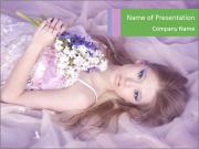 Young Woman Lying in Lilac Bed PowerPoint Templates
