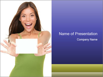 Surprised Girl with Card PowerPoint Template - Slide 1