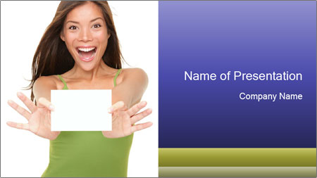 Surprised Girl with Card PowerPoint Template