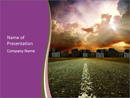 Field and Road PowerPoint Template