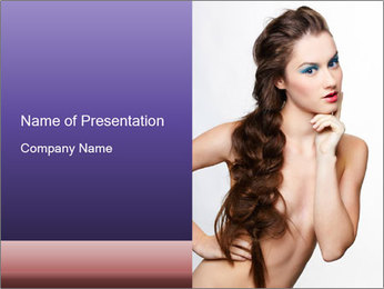 Naked Lady with Creative Hairdo PowerPoint Template - Slide 1