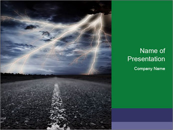 Lightning and Road Scene PowerPoint Template