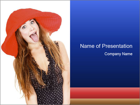 Funny Girl in Red Hat PowerPoint Template