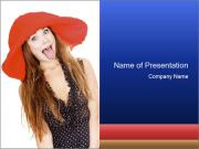 Funny Girl in Red Hat PowerPoint Templates