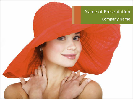 Woman Wearing Big Red Hat PowerPoint Template