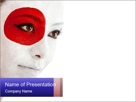 Japanese Flag Body Art PowerPoint Templates