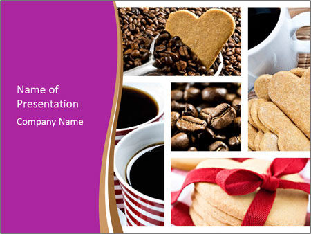 Coffee and Heart Cookies PowerPoint Template