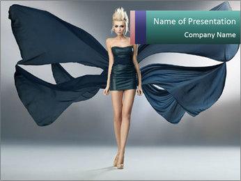 Airy Black Dress PowerPoint Templates - Slide 1
