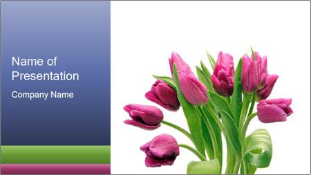Bouquet of Purple Tulips PowerPoint Template