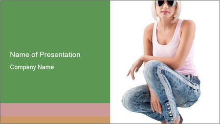 Pretty Blonde Woman Wearing Black Sunglasses PowerPoint Template