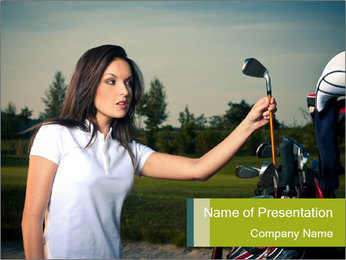 Young Golf Player PowerPoint Templates - Slide 1