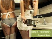 Attractive Housewifes Cooking in the Kitchen PowerPoint Templates