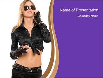 Blond Woman in Black PowerPoint Templates - Slide 1
