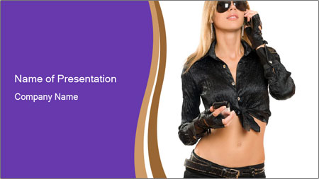 Blond Woman in Black PowerPoint Template