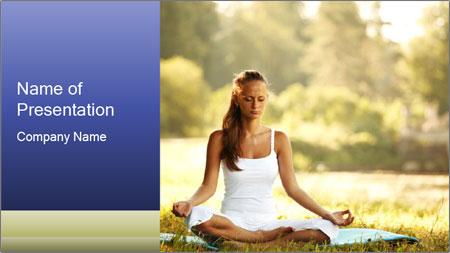 Peaceful Yoga Girl PowerPoint Template