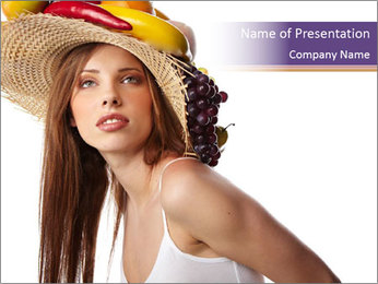 Fruits Over Female Hat PowerPoint Templates - Slide 1
