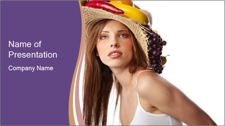 Fruits Over Female Hat PowerPoint Template