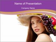 Summer Hat with Fresh Fruits PowerPoint Templates