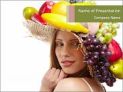 Female Hat with Fruits PowerPoint Templates