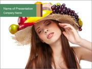 Woman Wearing Hat with Fruits PowerPoint Templates