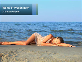 Woman Sleeping on the Beach PowerPoint Template - Slide 1