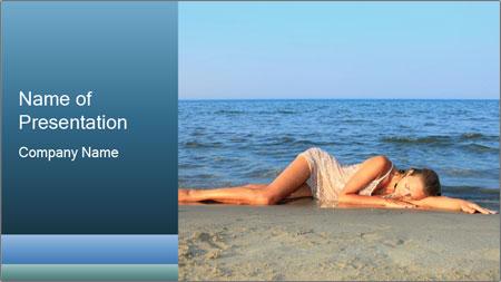Woman Sleeping on the Beach PowerPoint Template