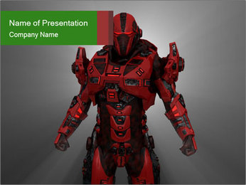 Scary Red Robot PowerPoint Templates - Slide 1