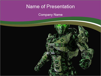 Green Robot PowerPoint Template - Slide 1