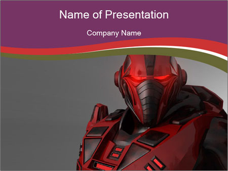 Futuristic Red Robot PowerPoint Templates