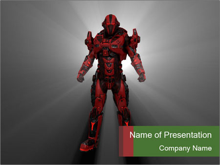 Robot Spreading Bright Light PowerPoint Templates