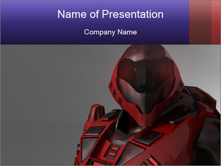 Red Cyborg Robot PowerPoint Template