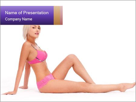 Sitting Woman in Pink Bikini PowerPoint Templates