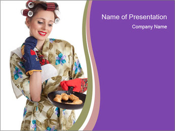 Housewife Baking Cookies PowerPoint Templates - Slide 1