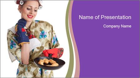 Housewife Baking Cookies PowerPoint Template