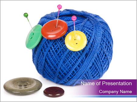 Ball of Blue Threads PowerPoint Template
