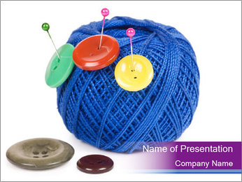 Ball of Blue Threads PowerPoint Templates - Slide 1