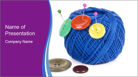 Ball of Blue Threads PowerPoint Template